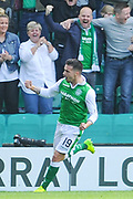Man of the month Jamie McLaen celebrates goal during the Ladbrokes Scottish Premiership match between Hibernian and Rangers at Easter Road, Edinburgh, Scotland on 13 May 2018. Picture by Kevin Murray.