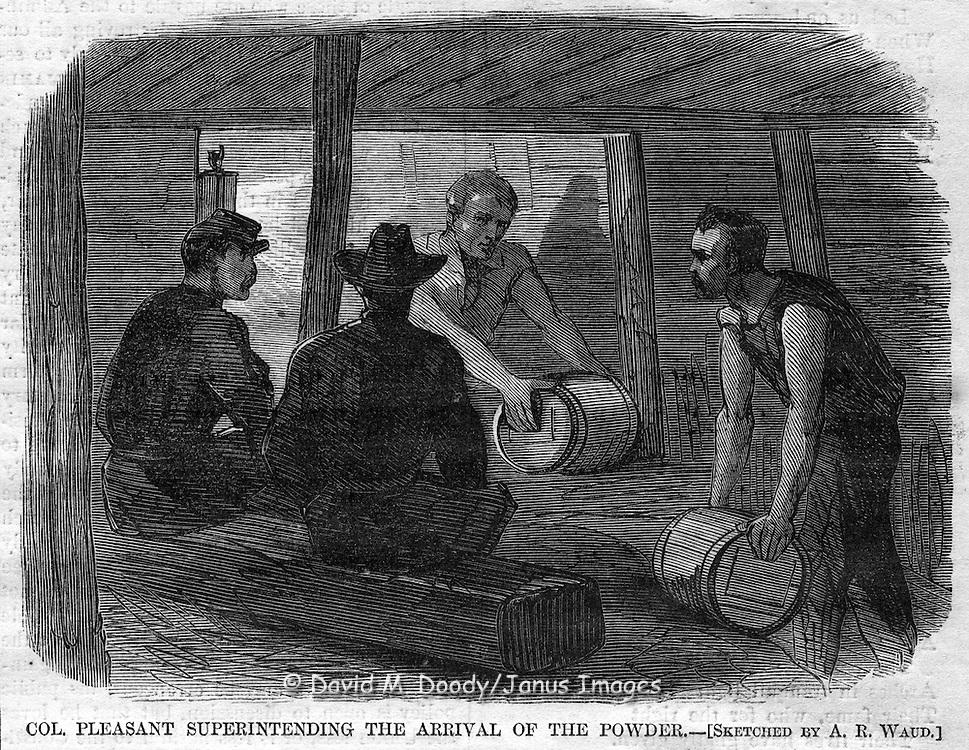 Civil War action before Petersburg, Virginia. Harper's Weekly, August 20, 1864. Moving powder to the mine in Petersburg.