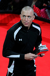 November 15, 2012; Montreal, Quebec, CAN; Georges St. Pierre appears for media and fans ahead of his upcoming UFC Welterweight title showdown against Carlos Condit.  The two will meet Saturday at UFC 154 at the Bell Centre in Montreal, CAN.  Photo: Ed Mulholland