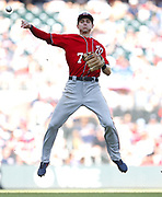 ATLANTA, GA - JUNE 02:  Shortstop Trea Turner #7 of the Washington Nationals makes a throw in the eighth inning during the game against the Atlanta Braves at SunTrust Park on June 2, 2018 in Atlanta, Georgia.  (Photo by Mike Zarrilli/Getty Images)