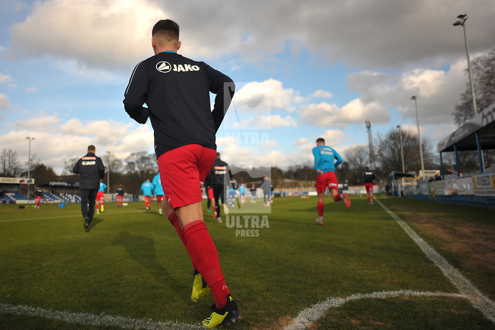 TELFORD COPYRIGHT MIKE SHERIDAN AFC Telford players take the field  during the Vanarama Conference North fixture between Guiseley and AFC Telford United at Nethermoor Park on Saturday, February 8, 2020.<br /> <br /> Picture credit: Mike Sheridan/Ultrapress<br /> <br /> MS201920-046