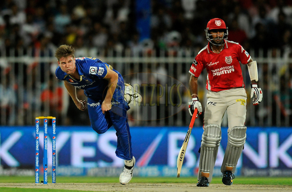 James Faulkner of the Rajatshan Royals bowls during match 7 of the Pepsi Indian Premier League 2014 between the Rajasthan Royals and The Kings XI Punjab held at the Sharjah Cricket Stadium, Sharjah, United Arab Emirates on the 20th April 2014<br /> <br /> Photo by Pal Pillai / IPL / SPORTZPICS