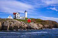 A Classic New England Lighthouse, The Nubble Light In The Afternoon At Cape Neddick, Maine, USA