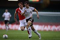 Photo: Rich Eaton.<br /> <br /> Wales v Germany. UEFA European Championships Qualifying. 08/09/2007. Germany's goalscorer in the first half Miroslav Klose outpaces James Collins.