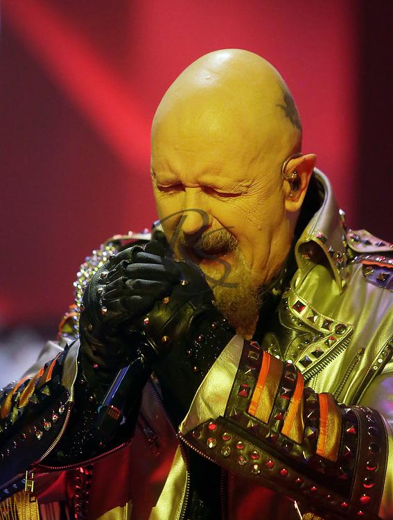 Rob Halford of Judas Priest performs on Tuesday, April 24, 2018, in Phoenix, Arizona. (AP Images/Rick Scuteri)