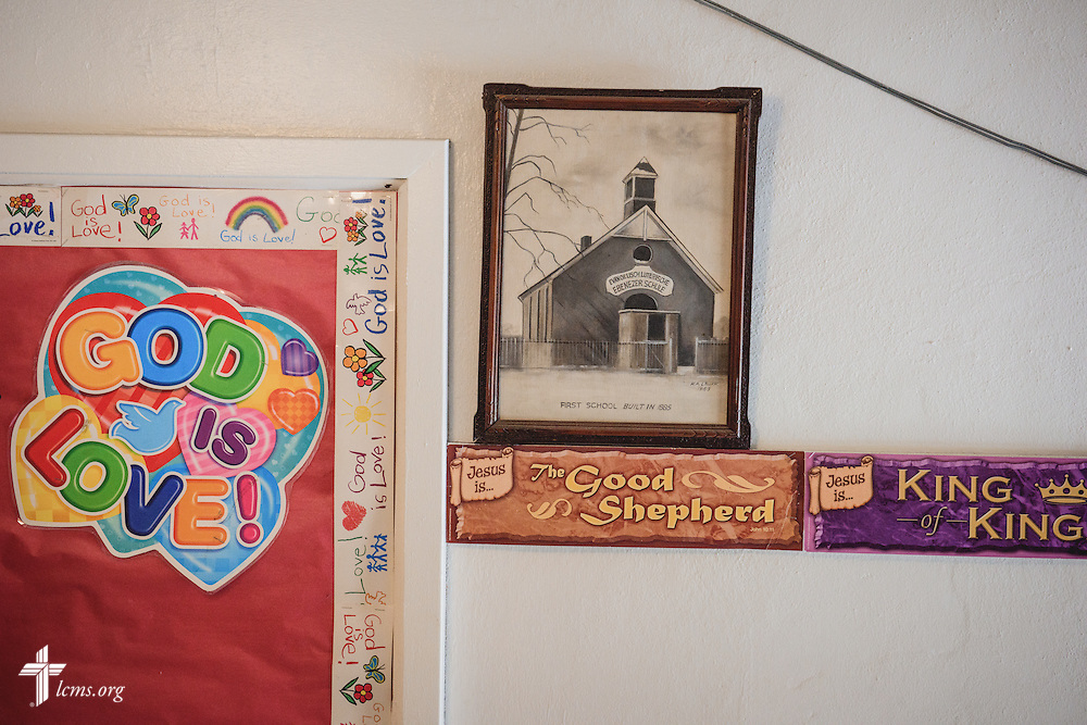 Posters help frame an image of the first school building for River Roads Lutheran School on Monday, Oct. 3, 2016, in St. Louis. LCMS Communications/Erik M. Lunsford