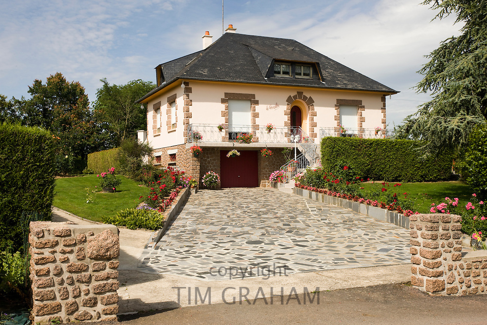 Typical French modern house in period style at Ernee in Normandy, France