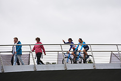 Aude Biannic (FRA) and Mavi Garcia (ESP) cross the footbridge to sign on at Ladies Tour of Norway 2018 Stage 2, a 127.7 km road race from Fredrikstad to Sarpsborg, Norway on August 18, 2018. Photo by Sean Robinson/velofocus.com