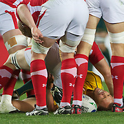 Quade Cooper, Australia, lies on the floor in agony after injuring his knee during the Australia V Wales Bronze Final match at the IRB Rugby World Cup tournament, Auckland, New Zealand. 21st October 2011. Photo Tim Clayton...