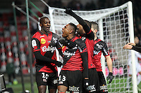 JOIE GUINGAMP  / Christophe MANDANNE / Claudio BEAUVUE   / Younousse SANKHARE  - 24.01.2015 - Guingamp / Lorient - 22eme journee de Ligue1<br />