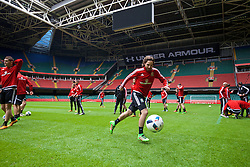 CARDIFF, WALES - Saturday, March 26, 2016: Wales' Joe Allen during a training session at the Millennium Stadium ahead of the International Friendly match against Ukraine. (Pic by David Rawcliffe/Propaganda)