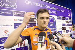 Veljko Petkovic (10) of ACH after the volleyball match of CEV Indesit Champions League Men 2009/2010 between ACH Volley Bled (SLO) and Istanbul Buyuksehir BLD (TUR), on December 9, 2009 in Arena Tivoli, Ljubljana, Slovenia. (Photo by Vid Ponikvar / Sportida)