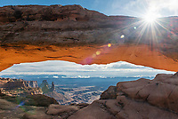 Mesa Arch at sunrise in Canyonlands National Park, Utah.<br />