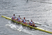 Henley on Thames, England, United Kingdom, Sunday, 07.07.19, Leander Club, hold the boat up, after crossing the Finish Line, to win the Queen Mother Challenge Cup, Henley Royal Regatta,  Henley Reach, [©Karon PHILLIPS/Intersport Images]<br /> <br /> 15:57:03 1919 - 2019, Royal Henley Peace Regatta Centenary,