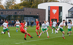 WREXHAM, WALES - Wednesday, October 30, 2019: Wales' Kai Ludvigsen scores the first goal during the 2019 Victory Shield match between Wales and Republic of Ireland at Colliers Park. (Pic by David Rawcliffe/Propaganda)