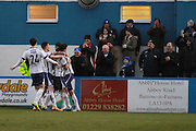 Barrow players celebrate their goal during the Vanarama National League match between Barrow and Cheltenham Town at Holker Street, Barrow, United Kingdom on 6 February 2016. Photo by Antony Thompson.