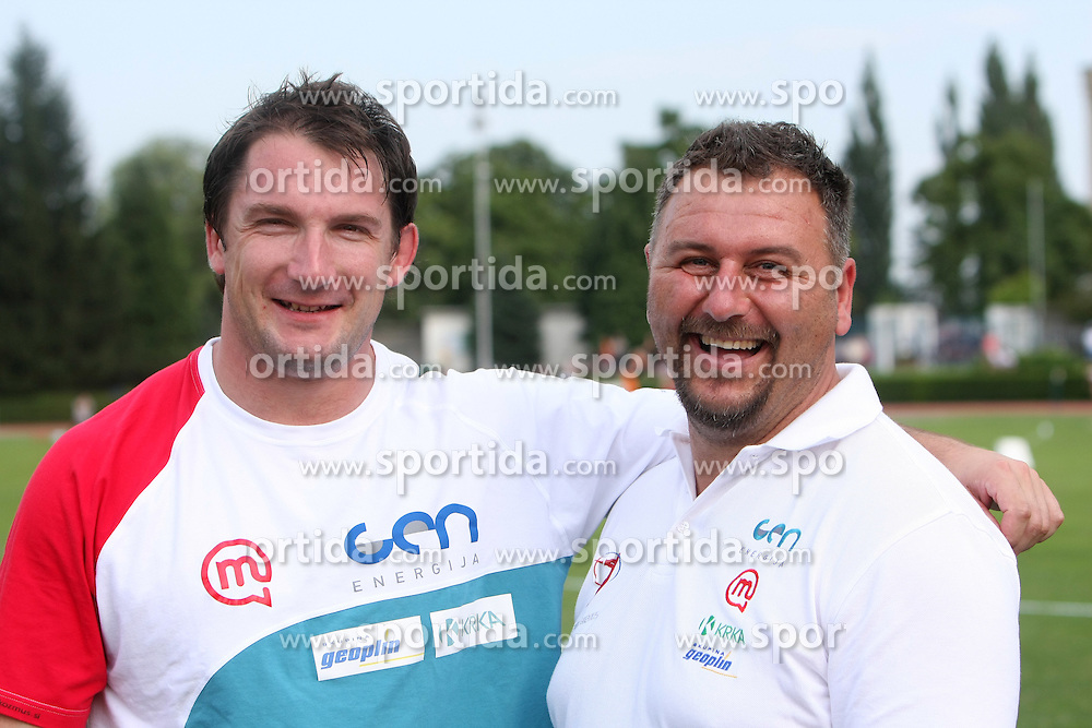 Primoz Kozmus and his coach Vladimir Kevo at Athletic National Championship of Slovenia, on July 19, 2008, in Stadium Poljane, Maribor, Slovenia. (Photo by Vid Ponikvar / Sportal Images).
