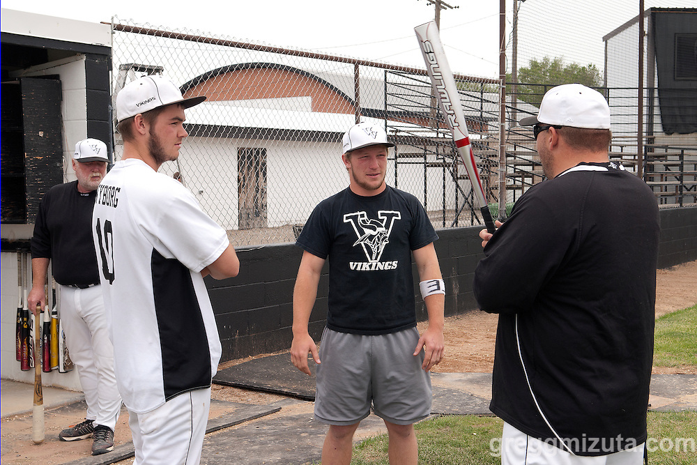 Vale's Logan Skerjanec, Austin Tolman, and coach Stefan Maupin at the ballpark before the start of the 3A Oregon State Baseball Championships semifinals game between Vale and Horizon Christian on May 31, 2011 at Cammann Field, Vale, OR.