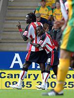 Photo: Ashley Pickering.<br /> Norwich City v Southampton. Coca Cola Championship. 18/08/2007.<br /> Kenwyne Jones (L) celebrates his opener for Southampton with team mate Nathan Dyer