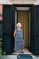 ACCIAROLI, ITALY - 14 SEPTEMBER 2018: Maria Orlando (88) is seen here in front of her house in Acciaroli, a small fishing village in the municipality of Pollica, Italy, on September 14th 2018.<br /> <br /> To understand how people can live longer throughout the world, researchers at University of California, San Diego School of Medicine have teamed up with colleagues at University of Rome La Sapienza to study a group of 300 citizens, all over 100 years old, living in Acciaroli (Pollica), a remote Italian village nestled between the ocean and mountains in Cilento, southern Italy.<br /> <br /> About 1-in-60 of the area's inhabitants are older than 90, according to the researchers. Such a concentration rivals that of other so-called blue zones, like Sardinia and Okinawa, which have unusually large percentages of very old people. In the 2010 census, about 1-in-163 Americans were 90 or older.