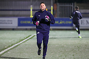 AFC Wimbledon goalkeeping coach Ashley Bayes and AFC Wimbledon goalkeeper Joe McDonnell (24) warming up during the EFL Sky Bet League 1 match between AFC Wimbledon and Fleetwood Town at the Cherry Red Records Stadium, Kingston, England on 22 January 2019.
