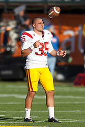 Oct 13, 2011; San Francisco CA, USA;  Southern California Trojans punter Kyle Negrete (35) warms up before the game against the California Golden Bears at AT&T Park.  Southern California defeated California 30-9. Mandatory Credit: Jason O. Watson-US PRESSWIRE
