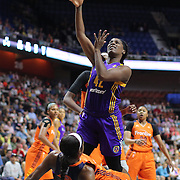 UNCASVILLE, CONNECTICUT- JULY 15: Jantel Lavender #42 of the Los Angeles Sparks shoots for two as she is fouled by Camille Little #2 of the Connecticut Sun during the Los Angeles Sparks Vs Connecticut Sun, WNBA regular season game at Mohegan Sun Arena on July 15, 2016 in Uncasville, Connecticut. (Photo by Tim Clayton/Corbis via Getty Images)