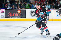 KELOWNA, CANADA - SEPTEMBER 24: Cal Foote #25 of the Kelowna Rockets skates with the puck against the Kamloops Blazers on September 24, 2016 at Prospera Place in Kelowna, British Columbia, Canada.  (Photo by Marissa Baecker/Shoot the Breeze)  *** Local Caption *** Cal Foote;