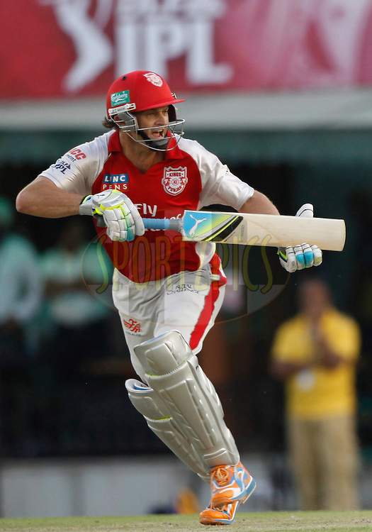 Kings XI Punjab captain Adam Gilchrist  reacts during match 9 of the Indian Premier League ( IPL ) Season 4 between the Kings XI Punjab and the Chennai Super Kings held at the PCA stadium in Mohali, Chandigarh, India on the 13th April 2011..Photo by Pankaj Nangia/BCCI/SPORTZPICS