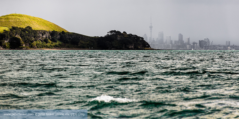 From Waiheke Island looking past northern end of Browns Island to Auckland CBD.