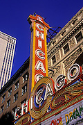 Image of the landmark Chicago Theatre on North State Street in Chicago, Illinois, American Midwest