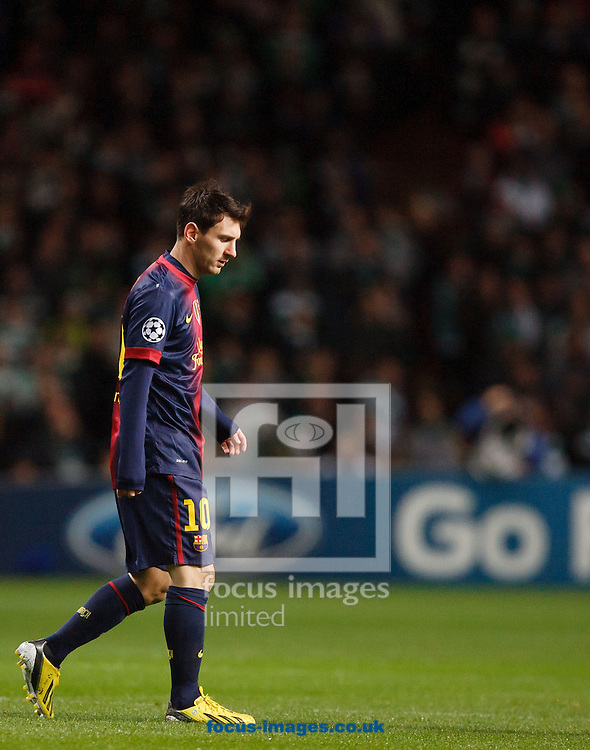 Picture by Chris Clark/Focus Images Ltd +44 7748 112188.07/11/2012.Lionel Messi of FC Barcelona walks off after defeat against Celtic during the UEFA Champions League match at Celtic Park, Glasgow.