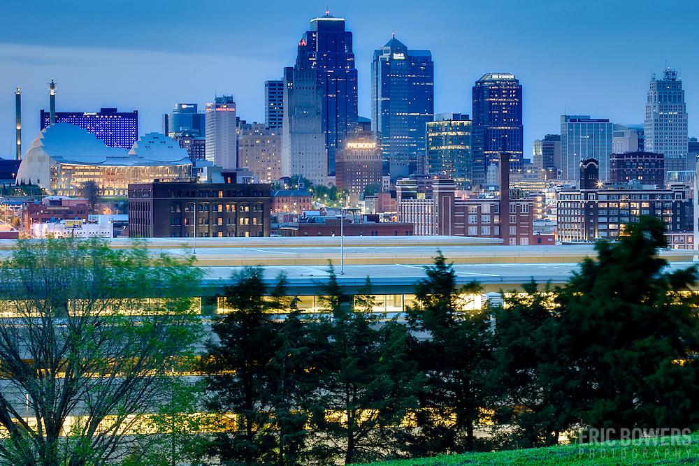 Kansas City skyline at dusk from Penn Valley Park