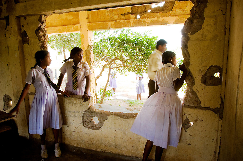 Students at Kilinochchi's war ravaged Central College in northern Sri Lanka, photographed just before the collapse of the 2002 ceasefire.