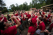 The staff yell out the Bowman chant at the top of their lungs before the reservation wide banquet at the end of Staff Week. Rivalries run strong between the camps surrounding Lake Merriweather and have even led to prank wars in years past. Most staff stay at the same camps in returning years but a few have crossed over to other sides. The current Reservation Director is a former Bowman staffer.
