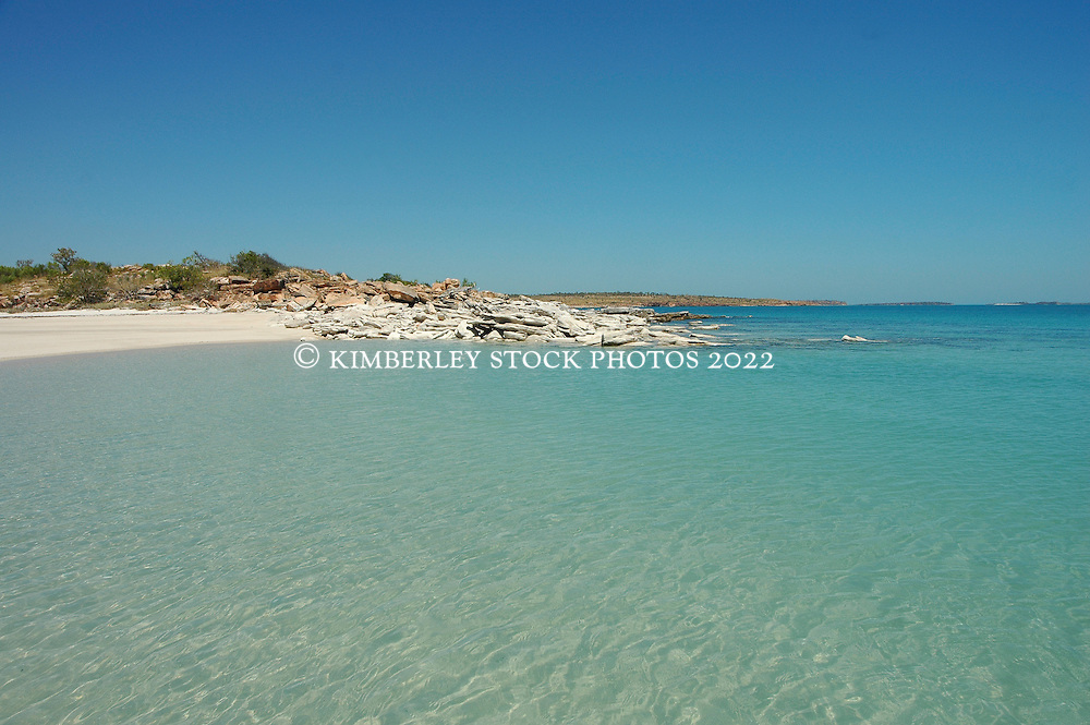 Clear water in the shallows at Deception Bay on the Kimberley coast.  On neap tides with smaller tidal movements, the water can be incredibly clear.