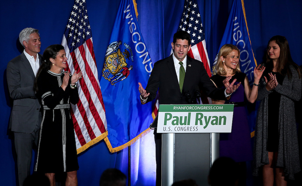 "U.S. Speaker of the House Paul Ryan (R-WI) speaks to the crowd during an ""Election Night event"" in Janesville, Wisconsin, U.S. November 8, 2016. REUTERS/Ben Brewer"