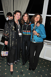 Left to right,the COUNTESS OF STRATHMORE wife of the 18th Earl, DESPINA CHRONOPOULOS and LOUISE ASPINALL at a dinner in aid of the charity Save The Rhino held at ZSL London Zoo, Regents Park, London NW1 on 16th November 2011.