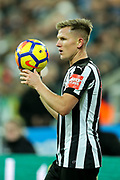 Matt Ritchie (#11) of Newcastle United takes a throw-in during the Premier League match between Newcastle United and Everton at St. James's Park, Newcastle, England on 13 December 2017. Photo by Craig Doyle.