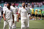 Indian player Virat Kohli walks back tothe sheds before the game starts at the 4th Cricket Test Match between Australia and India at The Sydney Cricket Ground in Sydney, Australia on 03 January 2019.
