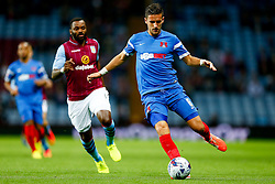 Mathieu Baudry of Leyton Orient is challenged by Darren Bent of Aston Villa - Photo mandatory by-line: Rogan Thomson/JMP - 07966 386802 - 27/08/2014 - SPORT - FOOTBALL - Villa Park, Birmingham - Aston Villa v Leyton Orient - Capital One Cup Round 2.