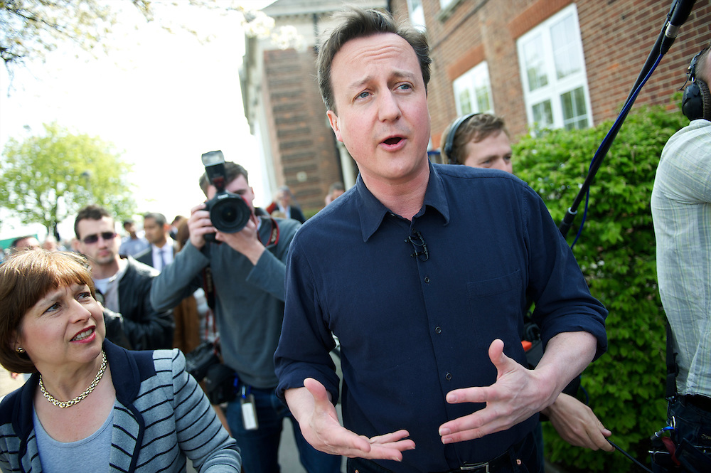 Conservatives leader David Cameron visits Palmer College in Grays, Essex, UK, delivering a speech to supporters at a Saturday morning rally.  With the general election looming on 6 May 2010, considered to be the closest and most fiercely fought in decades, candidates are campaigning at a torrid pace, holding many events throughout the UK..