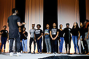 Singers from Annoited Ministries perform on stage in Baker Ballroom for the Black Alumni Reunion Variety Show on Saturday, September 17, 2016. © Ohio University / Photo by Kaitlin Owens