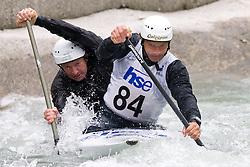 Dejan Kralj (R) of KKK Ljubljana and Simon Hocevar of KK Simon compete in the Men's double Canoe C-2 at kayak & canoe slalom race on May 9, 2010 in Tacen, Ljubljana, Slovenia. (Photo by Vid Ponikvar / Sportida)