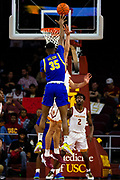 South Dakota State Jackrabbits forward Douglas Wilson (35) shoots the ball in the second half against the Southern California Trojans during an NCAA basketball game, Tuesday, Nov. 12, 2019, in Los Angeles. USC defeated South Dakota State 84-66. (Brandon Sloter/Image of Sport)