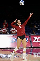 October 7, 2018 - Tucson, AZ, U.S. - TUCSON, AZ - OCTOBER 07: Washington State Cougars defensive specialist Abby Phillips (15) serves the ball during a college volleyball game between the Arizona Wildcats and the Washington State Cougars on October 07, 2018, at McKale Center in Tucson, AZ. Washington State defeated Arizona 3-2. (Photo by Jacob Snow/Icon Sportswire) (Credit Image: © Jacob Snow/Icon SMI via ZUMA Press)