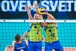 Toncek Stern and Jan Kuzamernik of Slovenia in block during friendly volleyball match between Slovenia and Serbia in Arena Stozice on 2nd of September, 2019, Ljubljana, Slovenia. Photo by Grega Valancic / Sportida