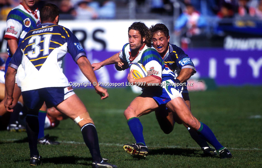 Warriors wnig Marc Ellis, Super League, Warriors v North Queensland Cowboys, 1997. Photo: Andrew Cornaga/PHOTOSPORT