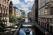 View of the canal that runs through the center of the danish town.<br /> Aarhus, a quiet coastal town of Central Jutland is the second most populous city in Denmark and the main port of the country. <br /> Aarhus will be European Capital of Culture 2017.