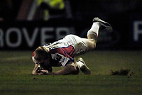 Photo: Jed Wee.<br /> Leeds Tykes v Bristol Rugby. Guinness Premiership. 10/02/2006.<br /> <br /> Bristol's Lee Robinson touches down for his try.